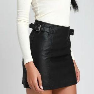 Free People Charli Vegan Leather Mini Buckle Skirt